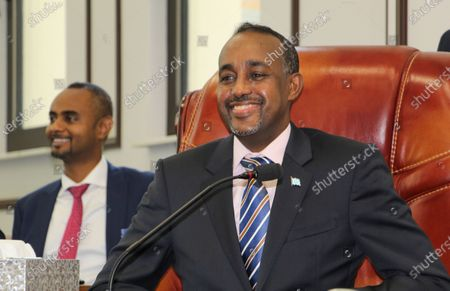Somali Prime Minister Mohamed Hussein Roble, a Swedish-trained civil engineer, speaks in the parliament in Mogadishu, Somalia, 10 February 2021. Somalia is in the midst of a political impasse between the central government and federal states seeking an agreement over elections and the president's mandate which expired 08 February 2021. Somalia's presidential elections were meant to have taken place before President Mohamed Abdullahi Farmaajo's four year term expired.