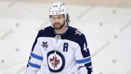 Winnipeg Jets player Josh Morrissey during an NHL hockey game, in Calgary, Canada
