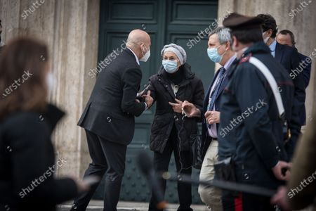 Emma Bonino leaves the Chamber of Deputies following a meeting with the designated Prime Minister Mario Draghi on formation of a new government at the Montecitorio