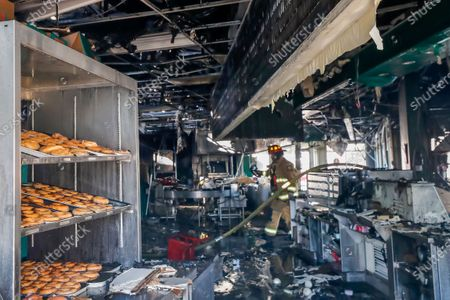 Editorial photo of Krispy Kreme Doughnuts fire destroys iconic eatery owned by Shaquille O'Neal., Atlanta, USA - 10 Feb 2021