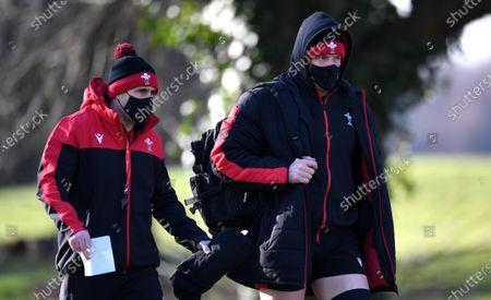 Stephen Jones and Alun Wyn Jones during training.