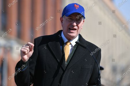 Stock Picture of New York Mets owner Steve Cohen speaks at the opening of the Covid-19 vaccination site at Citi Field in New York.
