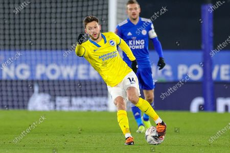 Adam Lallana (14) of Brighton & Hove Albion during the FA Cup 5th round match between Leicester City and Brighton and Hove Albion at the King Power Stadium, Leicester