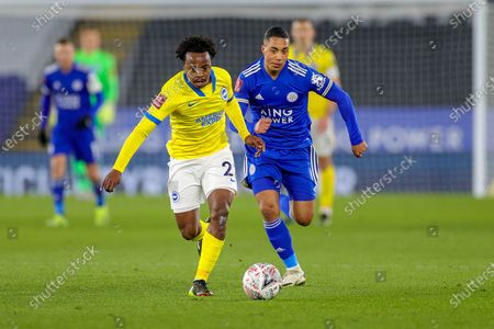 Percy Tau (22) of Brighton & Hove Albion goes past Youri Tielemans (8) of Leicester City during the FA Cup 5th round match between Leicester City and Brighton and Hove Albion at the King Power Stadium, Leicester