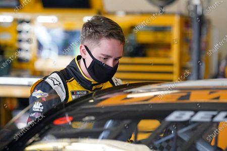 Christopher Bell gets ready for a NASCAR Daytona 500 auto race practice session at Daytona International Speedway, in Daytona Beach, Fla