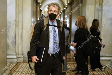 Senator Sherrod Brown (D-OH) departs after the day's proceedings concluded in the impeachment trial of former U.S. President Donald Trump, on charges of inciting the deadly attack on the U.S. Capitol, on Capitol Hill in Washington,, DC on Wednesday, February 10, 2021. Pool Photo by Joshua Roberts/UPI