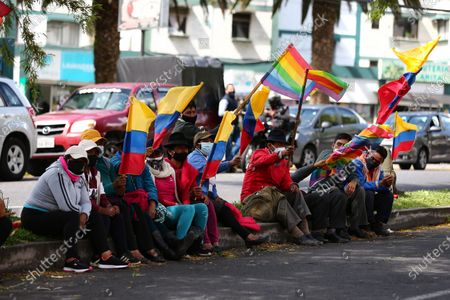 Editorial image of Yaku Perez supporters expect election results amid protests, Quito, Ecuador - 10 Feb 2021