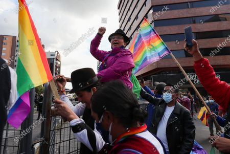 Indigenous supporters of Ecuador's presidential candidate Yaku Perez protest outside the CNE's Electoral Processing Center, in Quito, Ecuador, 10 February 2021. The president of Ecuador, Lenin Moreno, made a call to 'calm' and 'patience' to the entire population, which continues to wait for the definition of the rival of the correista Andres Arauz for the 11 April runoff election, in which the new head of state will be known. Indigenous sectors fear that a fraud could be carried out against their candidate, Yaku Perez, so that the center-right Guillermo Lasso can move to the second round.