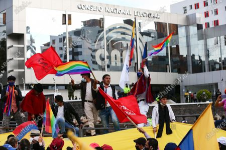 Editorial picture of Yaku Perez supporters expect election results amid protests, Quito, Ecuador - 10 Feb 2021