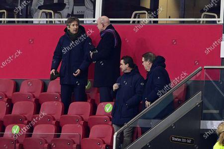 Ajax General director Edwin van der Sar, PSV General director Toon Gerbrands and Ajax Technical director Marc Overmars during the Toto KNVB Cup quarter-final match in the Johan Cruijff Arena