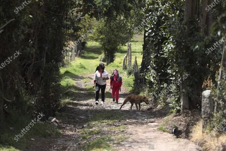 Stock Picture of Ana Milena Liiberato and her 8-year-old daughter Wendy Valeria walk to Los Soches Rural Community Library, in Los Soches, a small rural village on the outskirts of Bogota, Colombia, . Dozens of children in Los Soches do not have enough Internet connectivity so they must go to the nearby community library to do their homework amid the new coronavirus pandemic