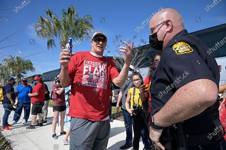 Tampa Bay Buccaneers tight end Rob Gronkowski arrives before a celebration of their Super Bowl 55 victory over the Kansas City Chiefs with a boat parade, in Tampa, Fla
