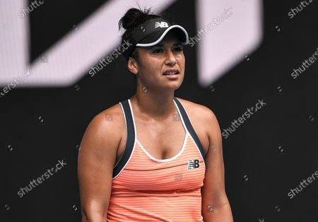 Heather Watson looks dejected  during her second round match
