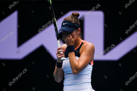 Belinda Bencic of Switzerland reacts while in action against Svetlana Kuznetsova of Russia during their second round tennis match of the Australian Open Grand Slam tennis tournament at Melbourne Park in Melbourne, Australia, 11 February 2021.