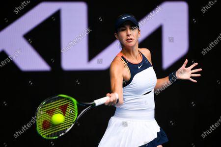 Belinda Bencic of Switzerland in action against Svetlana Kuznetsova of Russia during their second round tennis match of the Australian Open Grand Slam tennis tournament at Melbourne Park in Melbourne, Australia, 11 February 2021.
