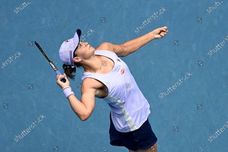 Ashleigh Barty of Australia in action against Daria Gavrilova of Australia during their second round tennis match of the Australian Open Grand Slam tennis tournament at Melbourne Park in Melbourne, Australia, 11 February 2021.