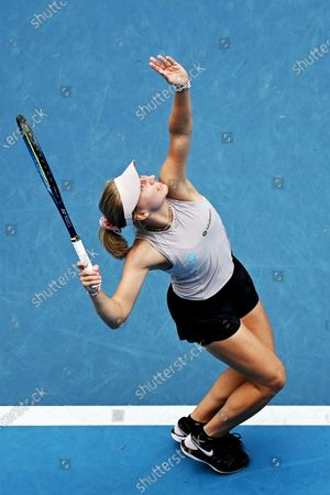 Daria Gavrilova of Australia in action against Ashleigh Barty of Australia during their second round tennis match of the Australian Open Grand Slam tennis tournament at Melbourne Park in Melbourne, Australia, 11 February 2021.