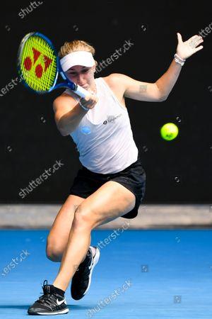 Daria Gavrilova of Australia in action during her second Round Women's singles match against Ashleigh Barty of Australia on Day 4 of the Australian Open Grand Slam tennis tournament at Melbourne Park in Melbourne, Australia, 11 February 2021.