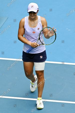Ashleigh Barty of Australia gestures after winning against Daria Gavrilova of Australia during their second round tennis match of the Australian Open Grand Slam tennis tournament at Melbourne Park in Melbourne, Australia, 11 February 2021.