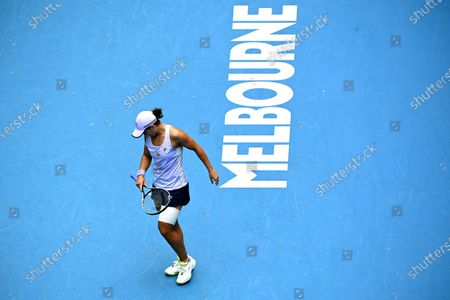Ashleigh Barty of Australia celebrates after winning against Daria Gavrilova of Australia during their second round tennis match of the Australian Open Grand Slam tennis tournament at Melbourne Park in Melbourne, Australia, 11 February 2021.