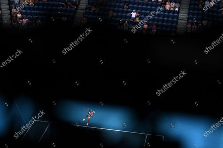 Stock Picture of Ashleigh Barty of Australia in action against Daria Gavrilova of Australia during their second round tennis match of the Australian Open Grand Slam tennis tournament at Melbourne Park in Melbourne, Australia, 11 February 2021.