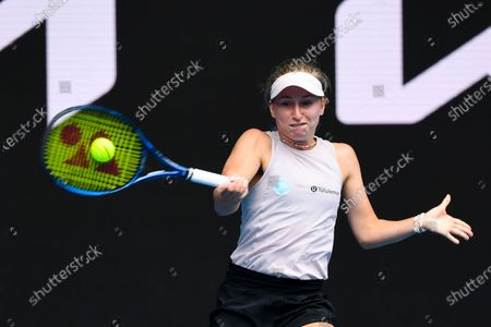 Stock Photo of Daria Gavrilova of Australia in action during her second Round Women's singles match against Ashleigh Barty of Australia on Day 4 of the Australian Open Grand Slam tennis tournament at Melbourne Park in Melbourne, Australia, 11 February 2021.