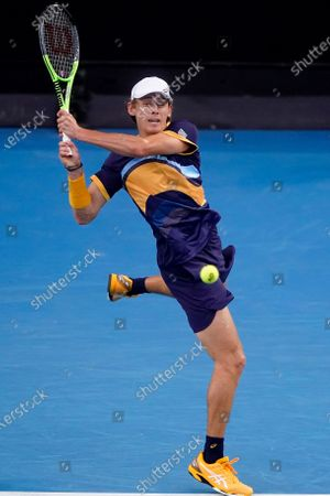 Alex de Minaur of Australia in action during his second Round Men's singles match against Pablo Cuevas of Uruguay Day 4 of the Australian Open Grand Slam tennis tournament at Melbourne Park in Melbourne, Australia, 11 February 2021.
