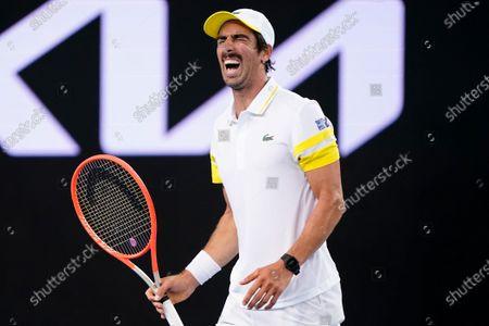 Pablo Cuevas of Uruguay reacts during his second Round Men's singles match against Alex de Minaur of Australia on Day 4 of the Australian Open Grand Slam tennis tournament at Melbourne Park in Melbourne, Australia, 11 February 2021.