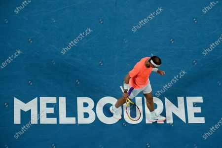 Rafael Nadal of Spain reacts during his second Round Men's singles match against Michael Mmoh of the USA on Day 4 of the Australian Open at Melbourne Park in Melbourne, Australia, 11 February 2021.