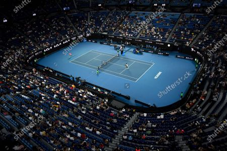 A general view of Rod Laver Arena during the second Round Men's singles match between Rafael Nadal of Spain and Michael Mmoh of the USA on Day 4 of the Australian Open at Melbourne Park in Melbourne, Australia, 11 February 2021.