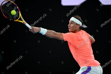 Rafael Nadal of Spain in action during his second Round Men's singles match against Michael Mmoh of the USA on Day 4 of the Australian Open at Melbourne Park in Melbourne, Australia, 11 February 2021.