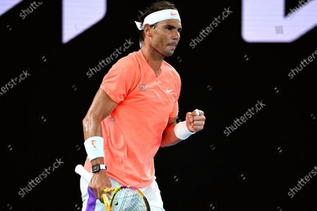 Rafael Nadal of Spain reacts during his men's singles second round match against Michael Mmoh of the USA at the Australian Open Grand Slam tennis tournament at Melbourne Park in Melbourne, Australia, 11 February 2021.