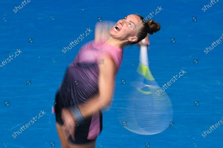 Svetlana Kuznetsova of Russia in action against Belinda Bencic of Switzerland during their second round tennis match of the Australian Open at Melbourne Park in Melbourne, Australia, 11 February 2021.