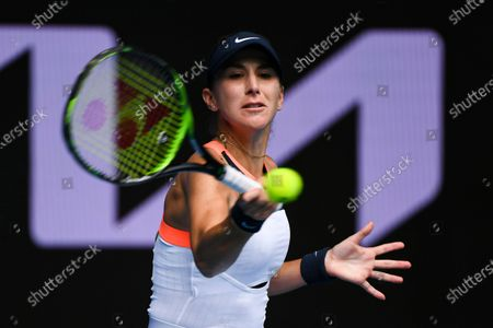 Belinda Bencic of Switzerland in action against Svetlana Kuznetsova of Russia during their second round tennis match of the Australian Open at Melbourne Park in Melbourne, Australia, 11 February 2021.