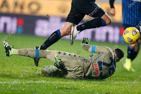 David Ospina (SSC Napoli) canâ€t save on Matteo Pessina (Atalanta) goal