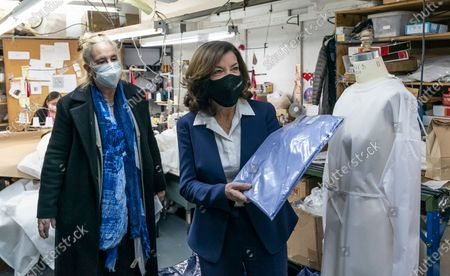 Editorial image of LG Kathy Hochul tours Women-Owned Nonprofit Garment District for Gowns Manufacturing PPE, New York, United States - 10 Feb 2021