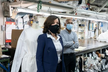 LG Kathy Hochul visits Four Seasons Fashion as part of women-owned nonprofit Garment District for Gowns on 39th street of Manhattan. LG was touring Four Season Fashion company owned by Tony Singh (R). Nonprofit organization helped already to manufacture more than 300,000 PPE and sent them to New York State hospitals.