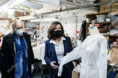 LG Kathy Hochul visits Four Seasons Fashion as part of women-owned nonprofit Garment District for Gowns on 39th street of Manhattan. LG was touring Four Season Fashion company owned by Tony Singh (not pictured) and was joined by Manhattan borough President Gail Brewer (L). Nonprofit organization helped already to manufacture more than 300,000 PPE and sent them to New York State hospitals.