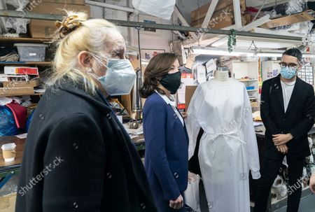 LG Kathy Hochul visits Four Seasons Fashion as part of women-owned nonprofit Garment District for Gowns on 39th street of Manhattan. LG was touring Four Season Fashion company owned by Tony Singh (not pictured) and was joined by Manhattan borough President Gail Brewer (R) and Emmanuel Nunez (L). Nonprofit organization helped already to manufacture more than 300,000 PPE and sent them to New York State hospitals.