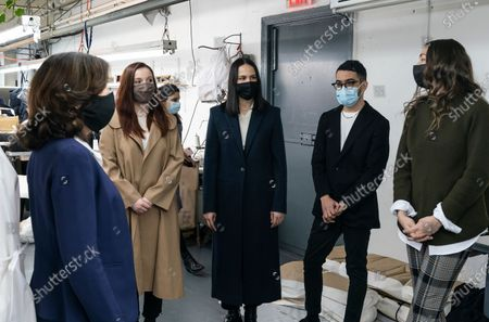 LG Kathy Hochul visits Four Seasons Fashion as part of women-owned nonprofit Garment District for Gowns on 39th street of Manhattan. LG was touring Four Season Fashion company owned by Tony Singh (not pictured) and presented by women who started nonprofit Garment District for Gowns (from the right) Amy Tiefermann, Emmanuel Nunez, Alessandra Dean, Alexandra Baylis. Nonprofit organization helped already to manufacture more than 300,000 PPE and sent them to New York State hospitals.