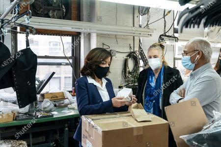 LG Kathy Hochul visits Four Seasons Fashion as part of women-owned nonprofit Garment District for Gowns on 39th street of Manhattan. LG was touring Four Season Fashion company owned by Tony Singh (R) and joined by Manhattan borough President Gail Brewer (2nd from right). Nonprofit organization helped already to manufacture more than 300,000 PPE and sent them to New York State hospitals.