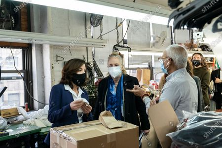 LG Kathy Hochul visits Four Seasons Fashion as part of women-owned nonprofit Garment District for Gowns on 39th street of Manhattan. LG was touring Four Season Fashion company owned by Tony Singh (R) and joined by Manhattan borough President Gail Brewer. Nonprofit organization helped already to manufacture more than 300,000 PPE and sent them to New York State hospitals.