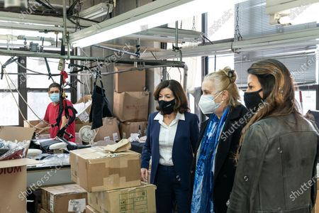 LG Kathy Hochul visits Four Seasons Fashion as part of women-owned nonprofit Garment District for Gowns on 39th street of Manhattan. LG was touring Four Season Fashion company owned by Tony Singh (not pictured), to her left Manhattan borough President Gail Brewer and Rachel Rothenberg. Nonprofit organization helped already to manufacture more than 300,000 PPE and sent them to New York State hospitals.