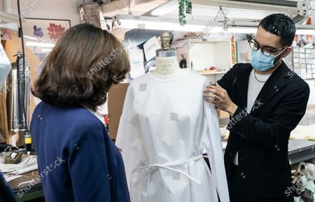 LG Kathy Hochul visits Four Seasons Fashion as part of women-owned nonprofit Garment District for Gowns on 39th street of Manhattan. LG was touring Four Season Fashion company owned by Tony Singh (not pictured), to the left of LG is Emmanuel Nunez. Nonprofit organization helped already to manufacture more than 300,000 PPE and sent them to New York State hospitals.
