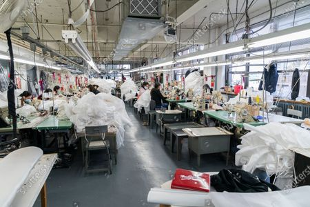 LG Kathy Hochul visits Four Seasons Fashion as part of women-owned nonprofit Garment District for Gowns on 39th street of Manhattan. LG was touring Four Season Fashion company owned by Tony Singh (not pictured). On this photo semastresses seen sewing PPE. Nonprofit organization helped already to manufacture more than 300,000 PPE and sent them to New York State hospitals.