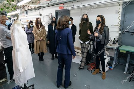 LG Kathy Hochul visits Four Seasons Fashion as part of women-owned nonprofit Garment District for Gowns on 39th street of Manhattan. LG was touring Four Season Fashion company owned by Tony Singh (L) and presented by women who started nonprofit Garment District for Gowns (from the right) Rachel Rothenberg, Amy Tiefermann, Emmanuel Nunez, Alessandra Dean, Alexandra Baylis. Nonprofit organization helped already to manufacture more than 300,000 PPE and sent them to New York State hospitals.