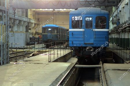 Metro carriages that have 500,000km mileage go through regular maintenance in the metro train repair shop in Dnipro, central Ukraine.