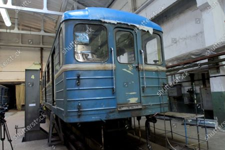 A metro carriage that has 500,000km mileage goes through regular maintenance in the metro train repair shop in Dnipro, central Ukraine.