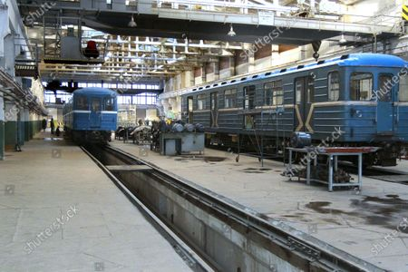 Stock-billede af Metro carriages that have 500,000km mileage go through regular maintenance in the metro train repair shop in Dnipro, central Ukraine.