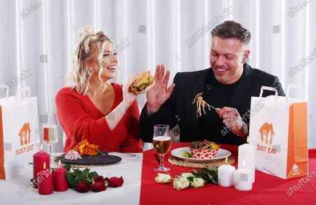 Stock Photo of Alex Bowen and Olivia Bowen have partnered with Just Eat to enjoy a 'Breakaway' - going their separate ways with their orders to enjoy the foods they love this Valentine's Day.